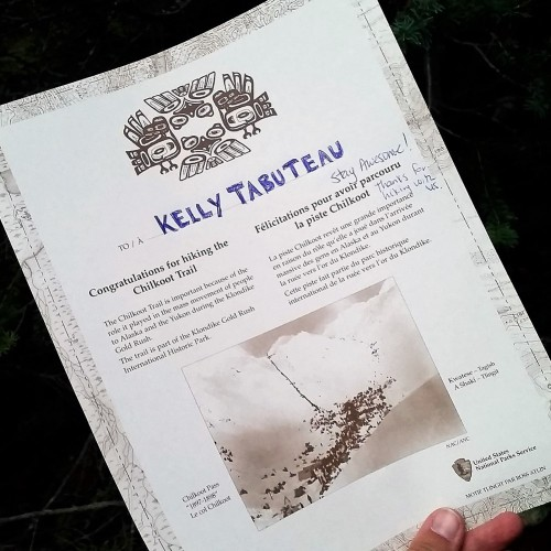 PVT Canada_Lily's road_Chilkoot trail_Certificat